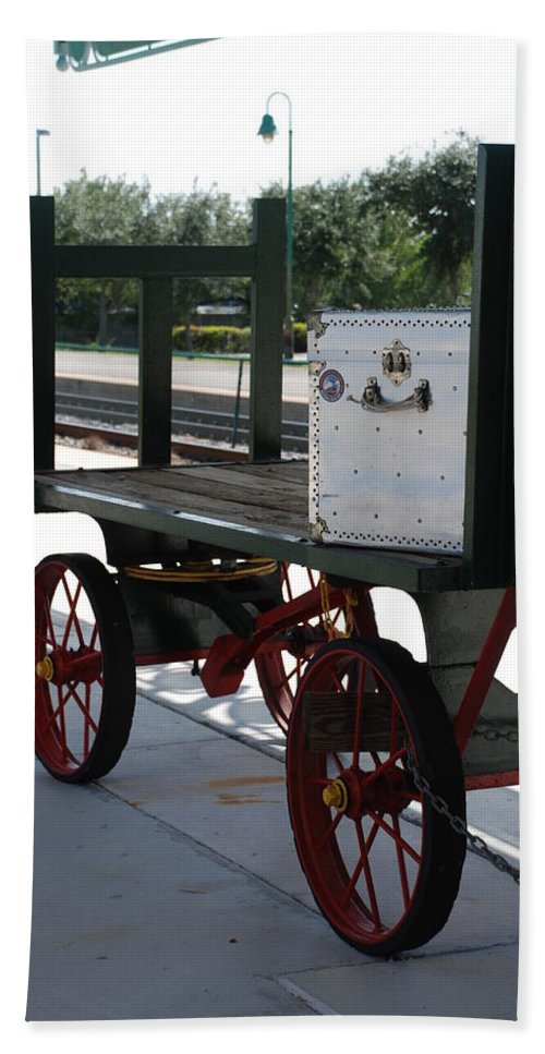 Train Station Bath Sheet featuring the photograph The Baggage Cart And Truck by Rob Hans
