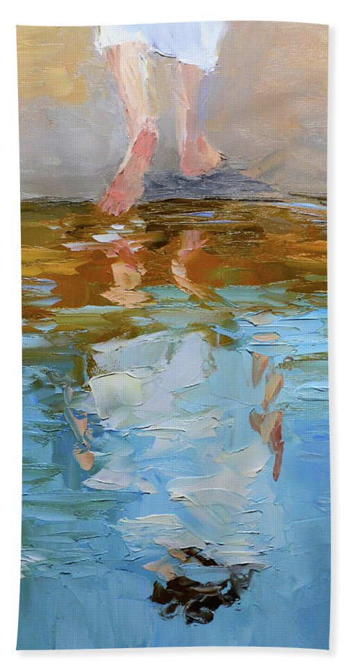 Baptism Bath Towel featuring the painting The Baptism of Jesus by Mike Moyers