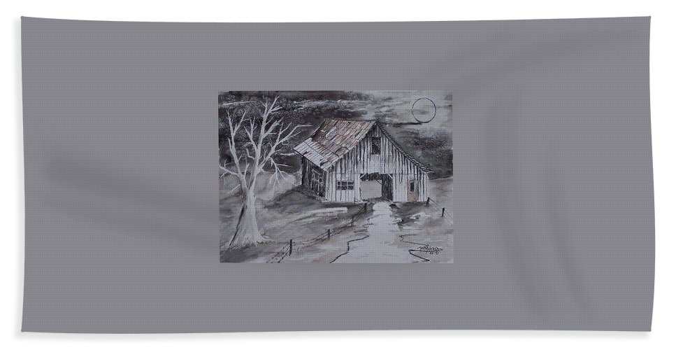 Watercolor Landscape Painting Barn Pen And Ink Painting Drawing Bath Towel featuring the painting THE BARN country pen and ink drawing by Derek Mccrea