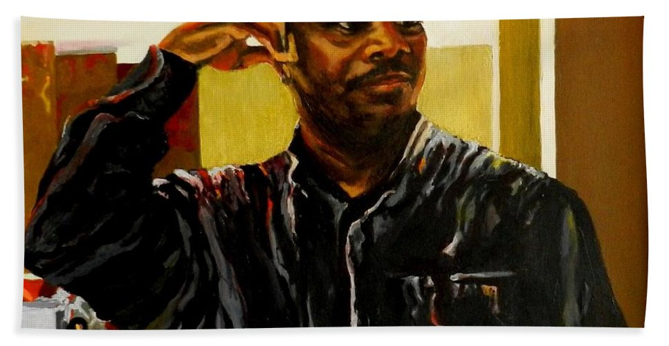 Portrait Hand Towel featuring the painting The Bartender by Jolante Hesse
