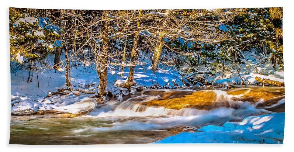 Winter Bath Sheet featuring the photograph The Basin At Franconia Notch by Claudia M Photography