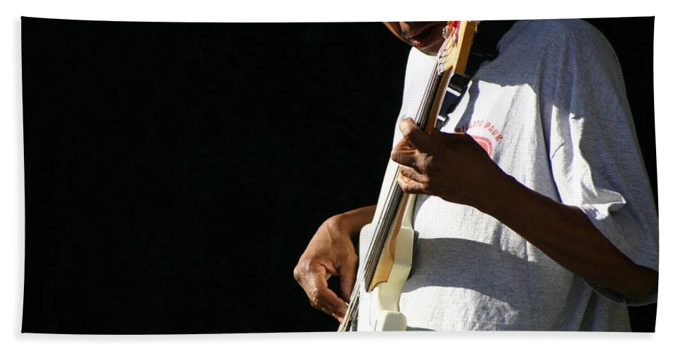 Guitar Hand Towel featuring the photograph The Bassman by Joe Kozlowski