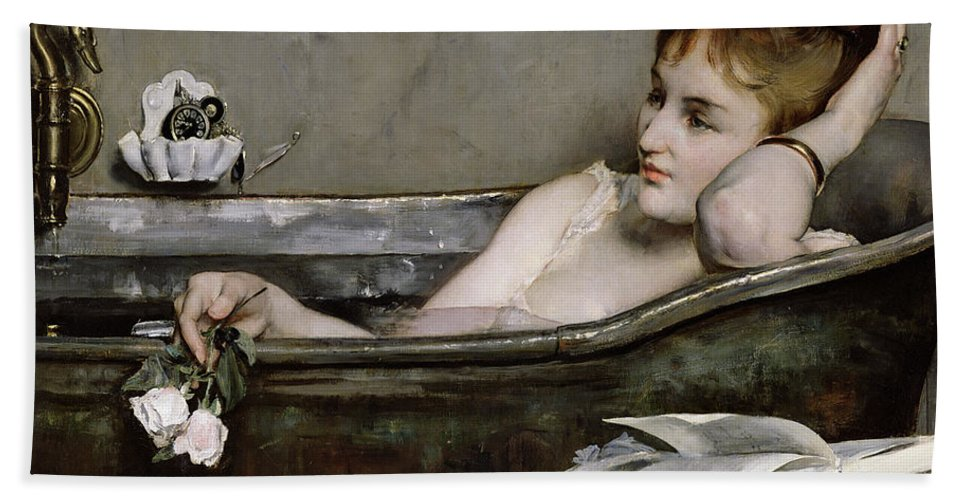 Alfred George Stevens Bath Towel featuring the painting The Bath by Alfred George Stevens