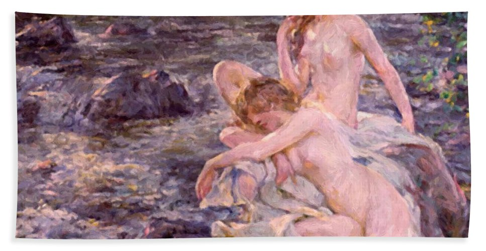 The Hand Towel featuring the painting The Bathers by Reid Robert Lewis