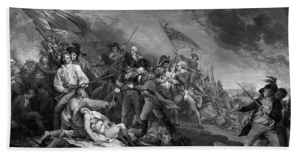 Revolutionary War Hand Towel featuring the drawing The Battle Of Bunker Hill by War Is Hell Store