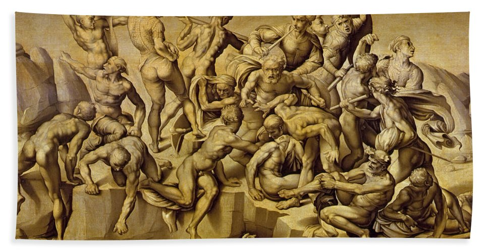 The Battle Of Cascina Hand Towel featuring the painting The Battle Of Cascina by Aristotile da Sangallo