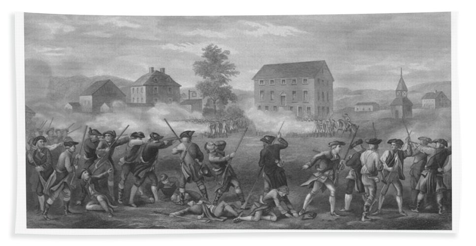 Minutemen Bath Towel featuring the drawing The Battle Of Lexington by War Is Hell Store