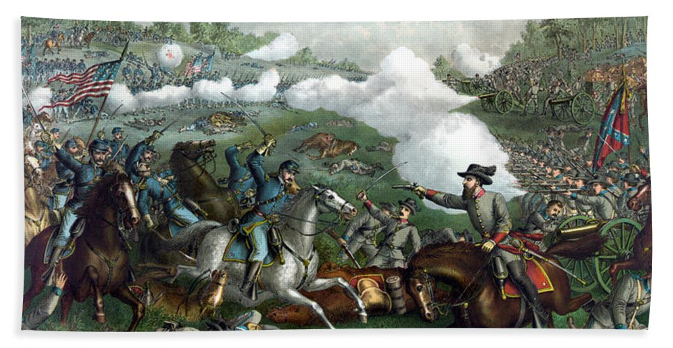 Civil War Hand Towel featuring the painting The Battle Of Winchester by War Is Hell Store