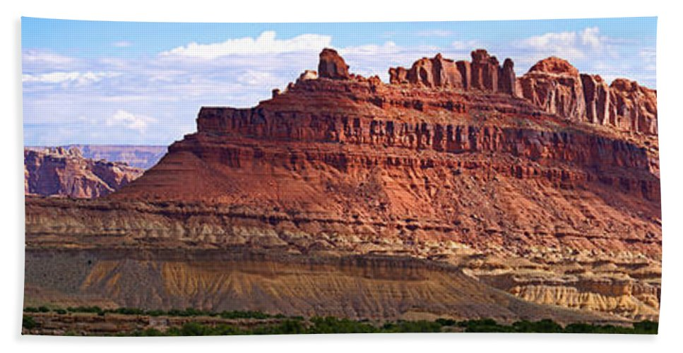 Landscape Utah Hand Towel featuring the photograph The Battleship Utah by Heather Coen