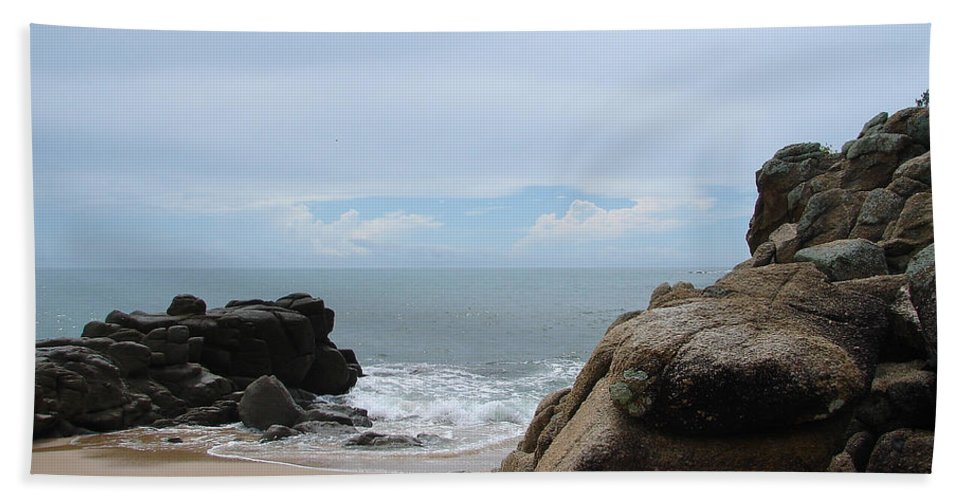 Sand Ocean Clouds Blue Sky Rocks Bath Towel featuring the photograph The Beach 2 by Luciana Seymour