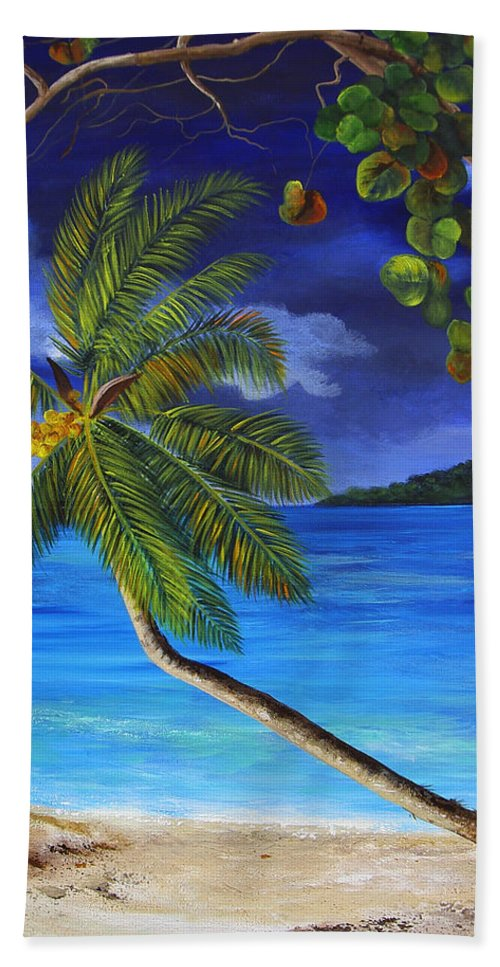 Beach Hand Towel featuring the painting The Beach At Night by Dominica Alcantara