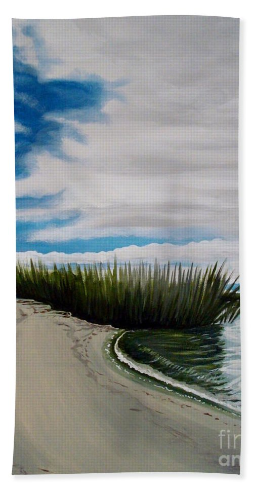 Beach Hand Towel featuring the painting The Beach by Elizabeth Robinette Tyndall