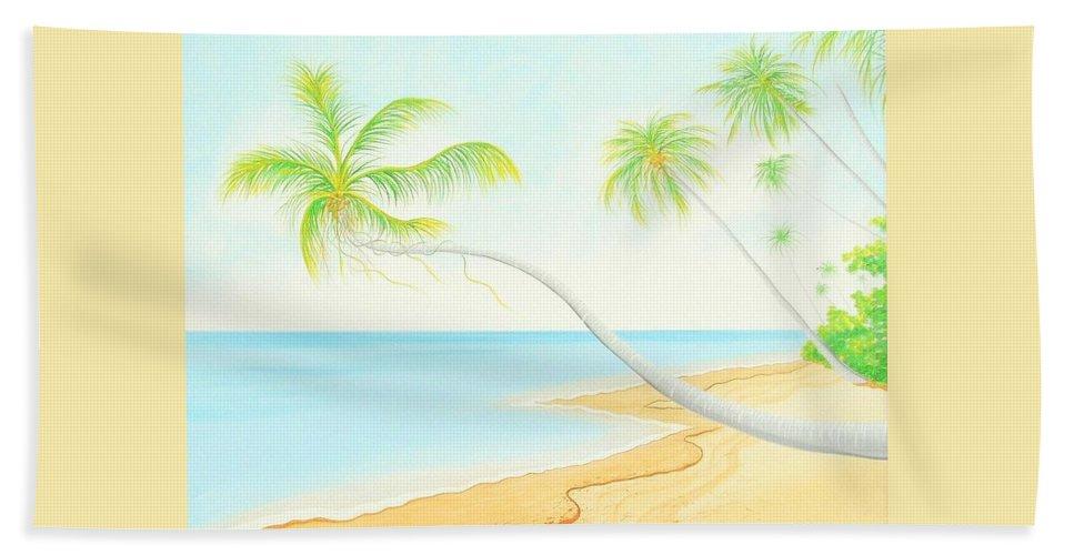 Caribbean Art/puerto Rican Art/seascape Art Bath Sheet featuring the painting The Beach by Jose Guerrido jr