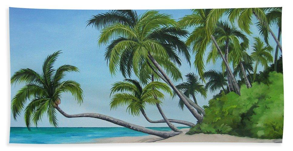 Beach Hand Towel featuring the painting The Beach by Juan Alcantara