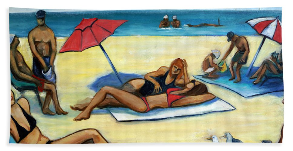 Beach Scene Bath Sheet featuring the painting The Beach by Valerie Vescovi