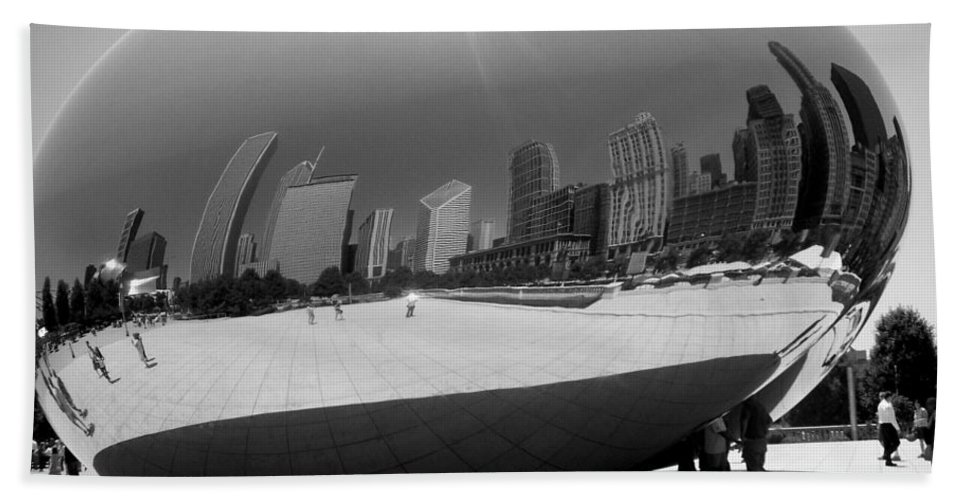 Chicago Bath Towel featuring the photograph The Bean B-w by Anita Burgermeister