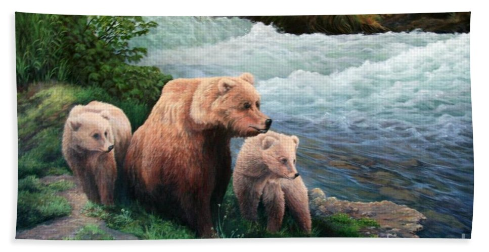 Bears Bath Sheet featuring the painting The Bears Of Katmai by Lorna Allan