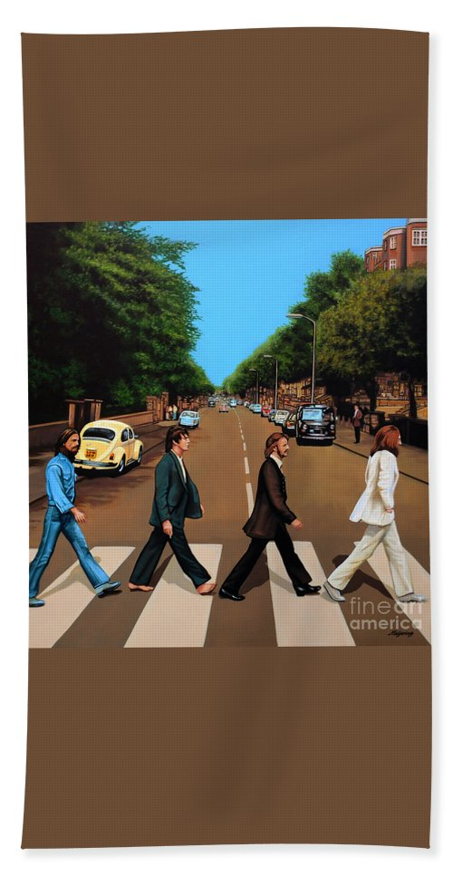 The Beatles Hand Towel featuring the painting The Beatles Abbey Road by Paul Meijering