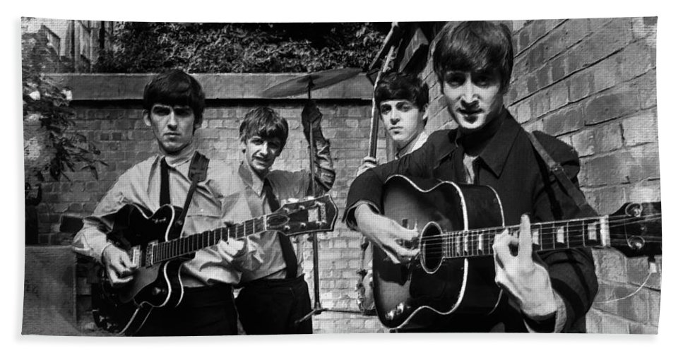 The Beatles Hand Towel featuring the painting The Beatles In London 1963 Black And White Painting by Tony Rubino
