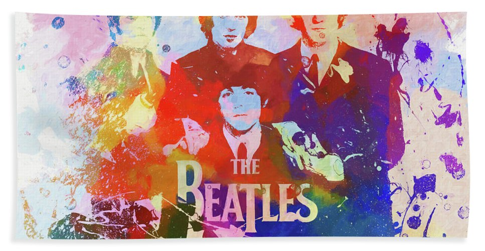 The Beatles Watercolor Bath Towel featuring the painting The Beatles Paint Splatter by Dan Sproul