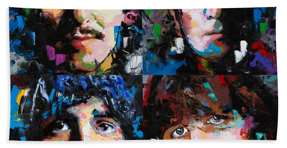 The Beatles Bath Towel featuring the painting The Beatles by Richard Day