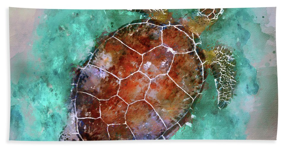Sea Turtle Watercolor Hand Towel featuring the photograph The Beautiful Sea Turtle by Jon Neidert