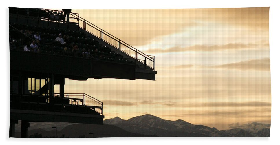 Sunset Bath Towel featuring the photograph The Beauty Of Baseball In Colorado by Marilyn Hunt