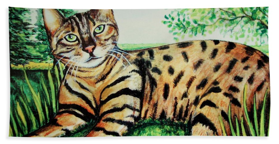 Cat Hand Towel featuring the painting The Bengal by Elizabeth Robinette Tyndall
