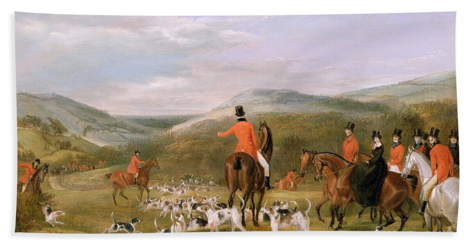 The Bath Sheet featuring the painting The Berkeley Hunt by Francis Calcraft Turner