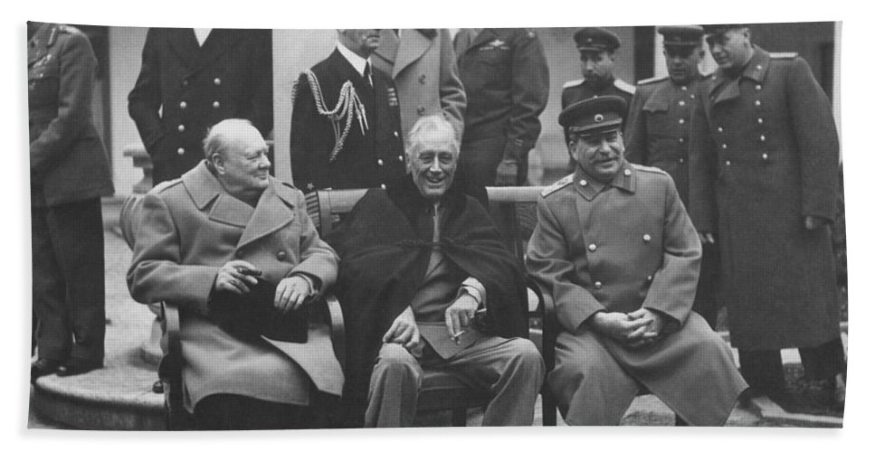 The Big Three -- WW2 Leaders Hand Towel for Sale by War Is Hell Store