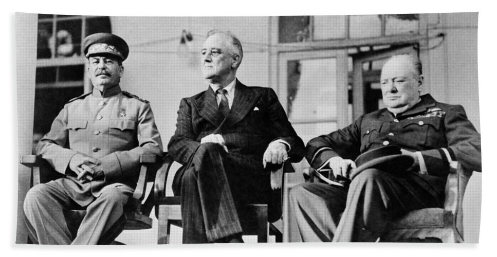 Franklin Roosevelt Bath Towel featuring the photograph The Big Three - Ww2 - Tehran Conference 1943 by War Is Hell Store
