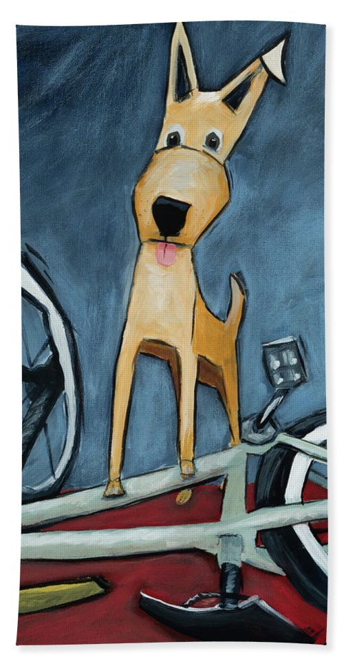 Dog Hand Towel featuring the painting The Biker by Shari Michaud