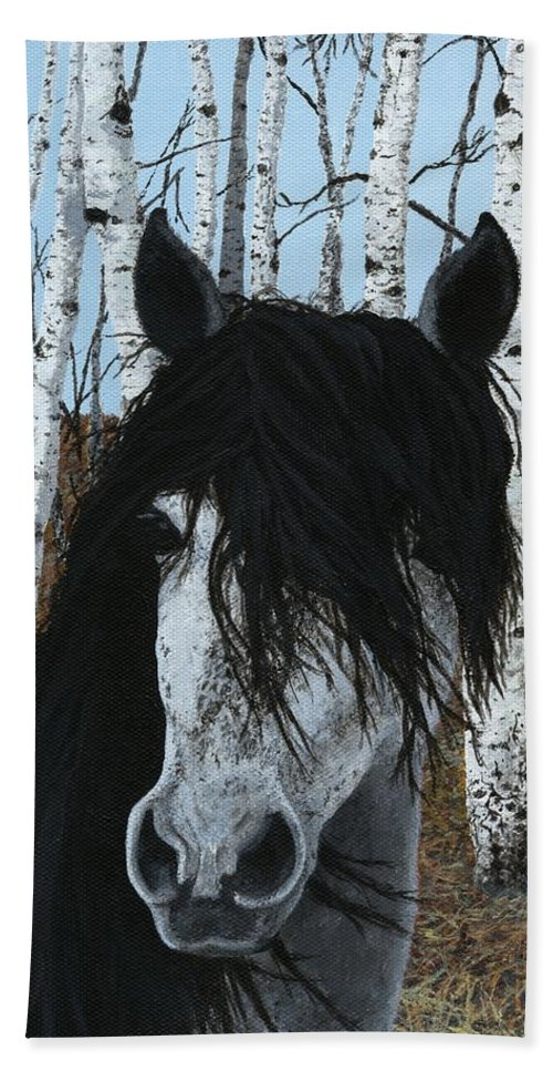 Horse Hand Towel featuring the painting The Birch Horse by Jennifer Nilsson