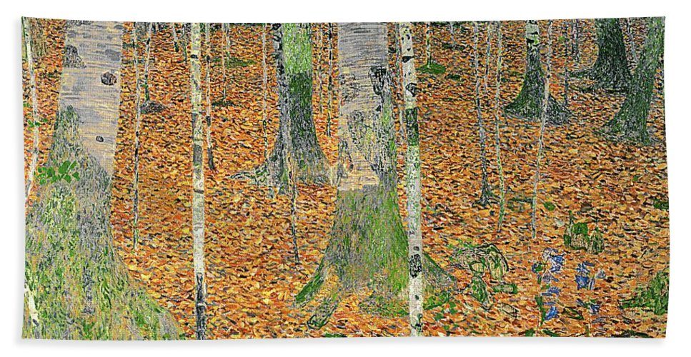 The Bath Towel featuring the painting The Birch Wood by Gustav Klimt