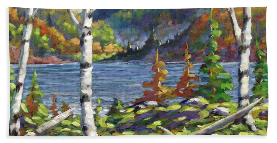 Art Bath Sheet featuring the painting The Birches by Richard T Pranke