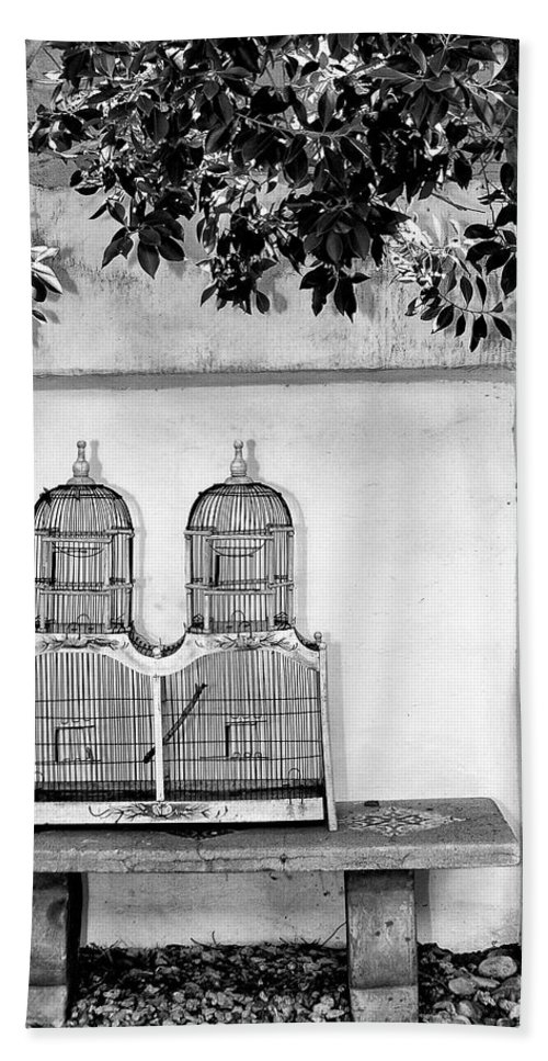 The Bird Cage Hand Towel featuring the photograph The Bird Cage Palm Springs by William Dey