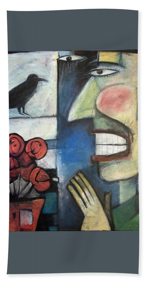 Bird Hand Towel featuring the painting The Bird Watcher by Tim Nyberg