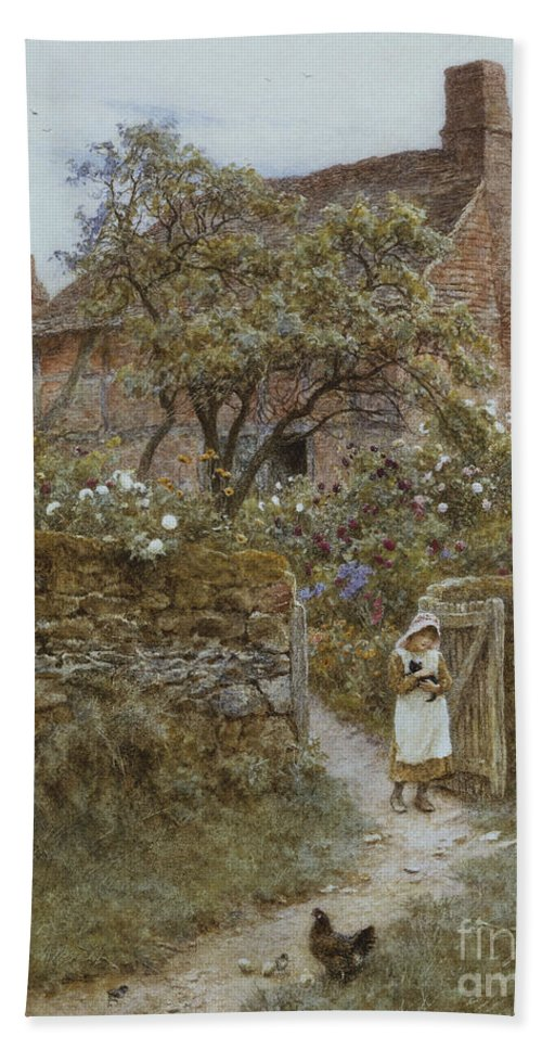 English; Landscape; Cottage; Rural; C19th; C20th; Country; Lane; Path; Child; Girl; Female; Victorian; Gateway Hand Towel featuring the painting The Black Kitten by Helen Allingham