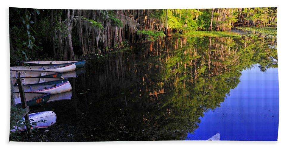 Skip Hunt Hand Towel featuring the photograph The Black Lagoon by Skip Hunt