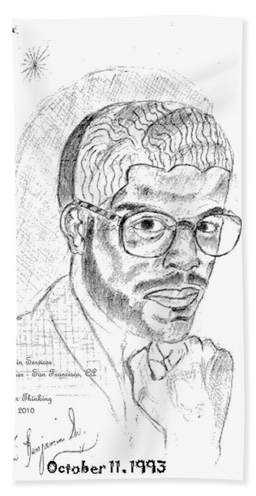 Drawing Of Black Man Face Hand Towel featuring the digital art The Black Thinker by Anthony Benjamin