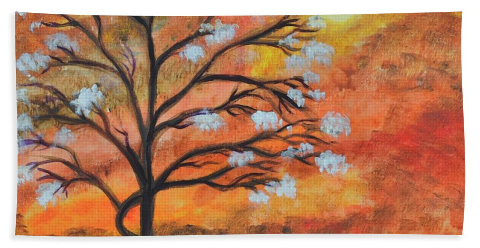 Blossom Bath Towel featuring the painting The Blossom by Manjiri Kanvinde
