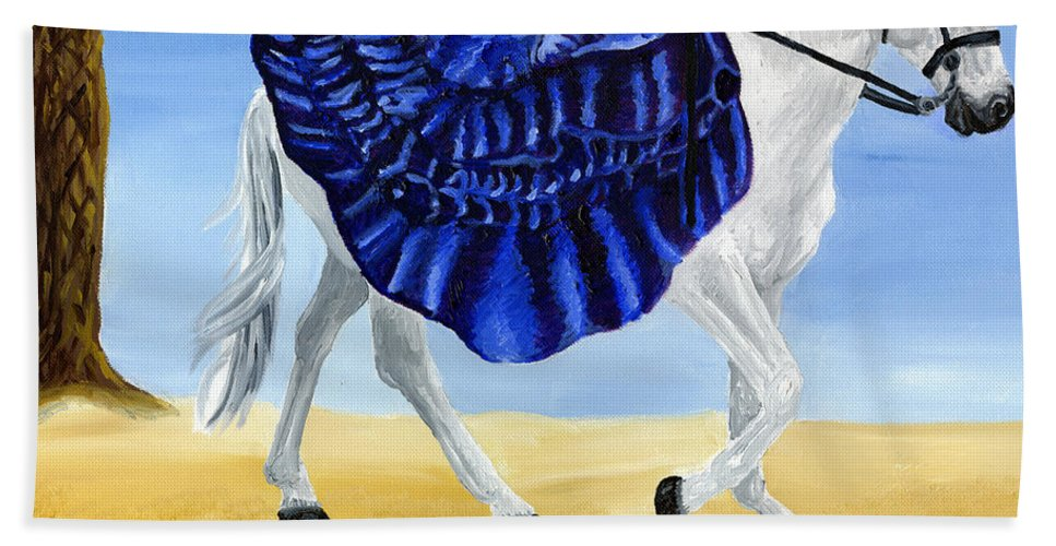 Horse Hand Towel featuring the painting The Blue And The White - Princess Starliyah Riding Candis by J M Lister