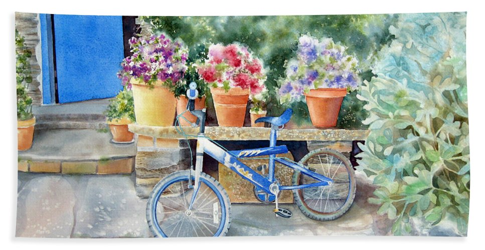 Blue Bicycle Hand Towel featuring the painting The Blue Bicycle by Deborah Ronglien