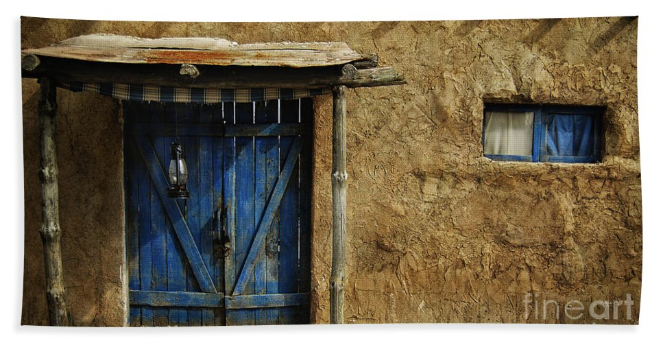 Door Bath Sheet featuring the photograph The Blue Door by Christo Christov