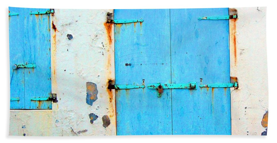 Door Hand Towel featuring the photograph The Blue Door Shutters by Debbi Granruth