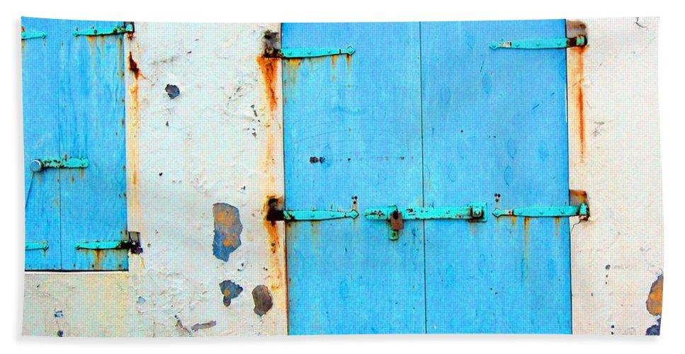 Door Bath Towel featuring the photograph The Blue Door Shutters by Debbi Granruth