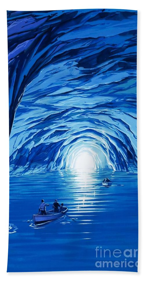 Blue Grotto; Capri; La Grotta Azzurra; Italy; Cave; Sea; Mediterranean; Blue; Colour Bath Sheet featuring the painting The Blue Grotto In Capri By Mcbride Angus by Angus McBride