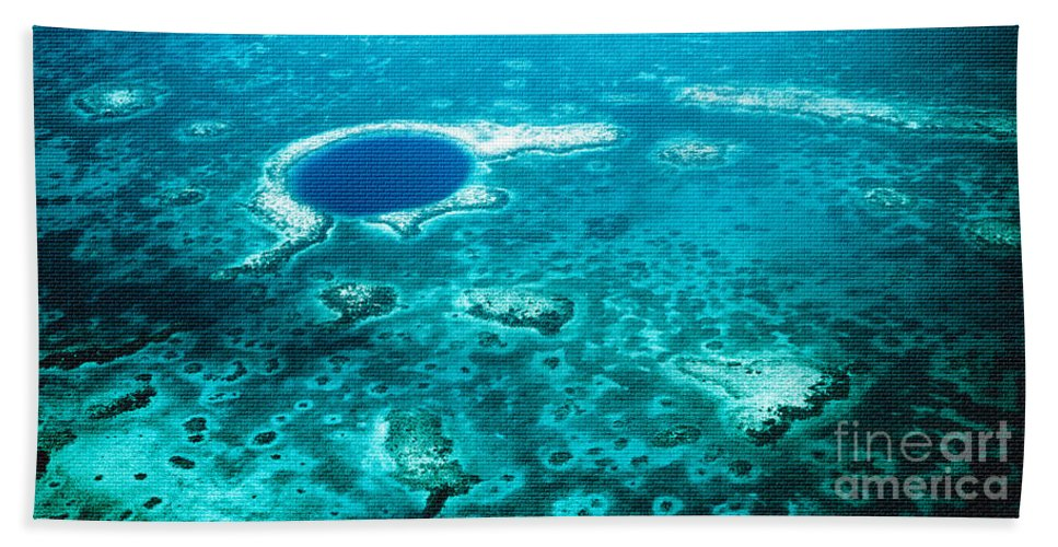 Aerial Photography Bath Sheet featuring the photograph The Blue Hole by Lawrence Burry