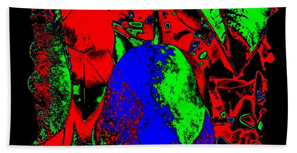 Abstract Hand Towel featuring the digital art The Blue Pear by Will Borden