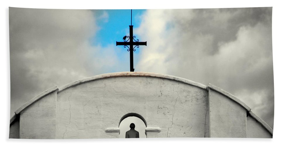 Religion Bath Sheet featuring the photograph The Blue Spot In The Sky by Susanne Van Hulst